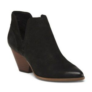 Frye Reina Black Leather Suede Cut-out Ankle Women